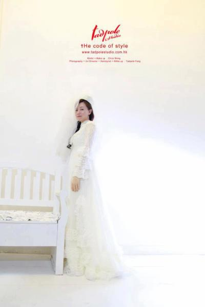 Long Sleeve High Collar Lace Wedding Dress